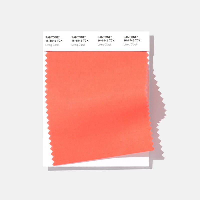 pantone living coral textile swatch