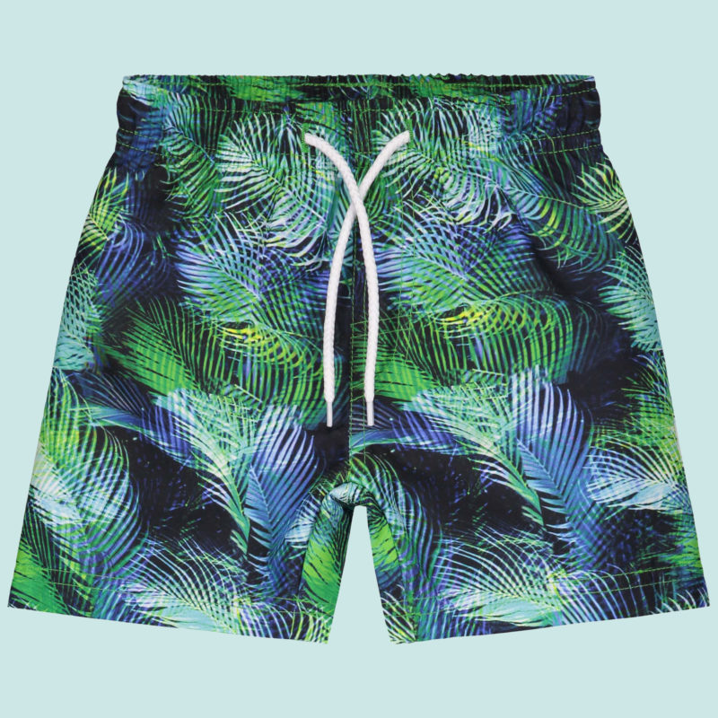 surfshort with tropical palm print designed by kukka