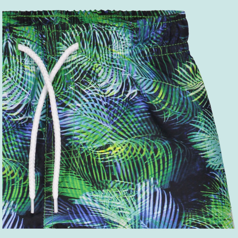 swimshort with tropical palm print designed by kukka