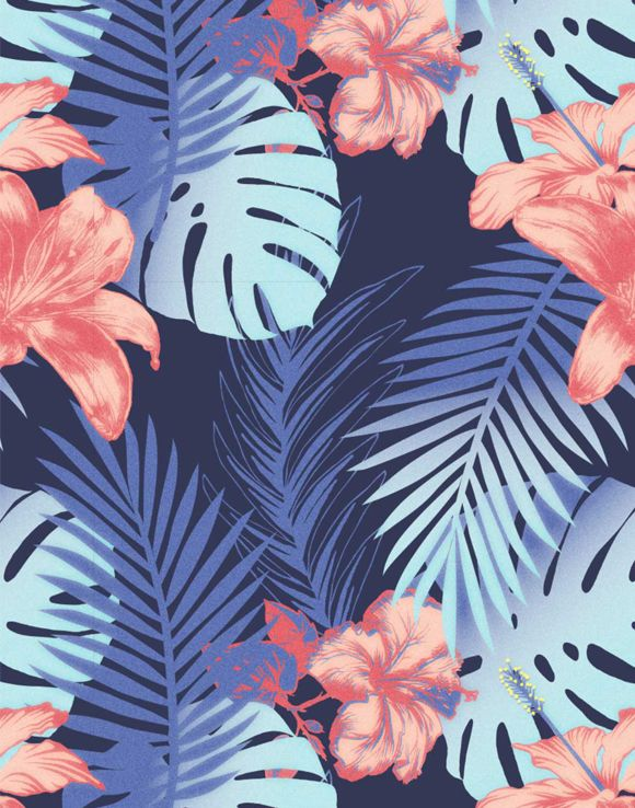 tropical swimwear print designed by kukka