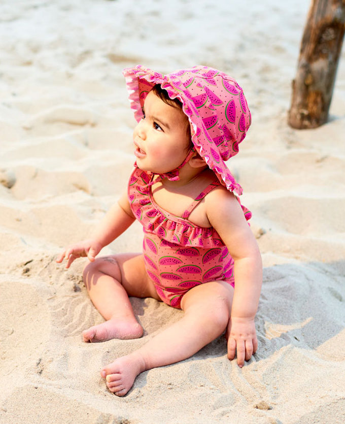 baby swimsuit bottom with watermelon print in pink designed by kukka
