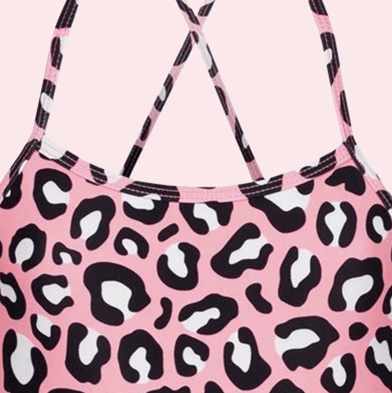 pink leopard print swimsuit designed by kukka