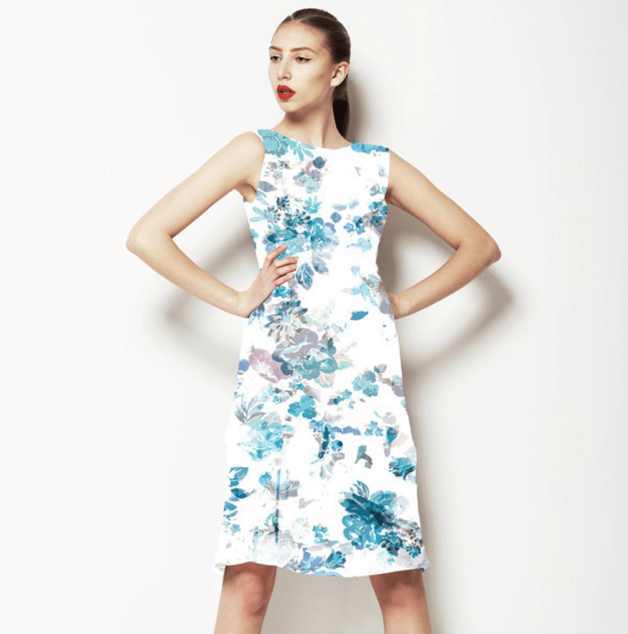 watercolour floral print dress design
